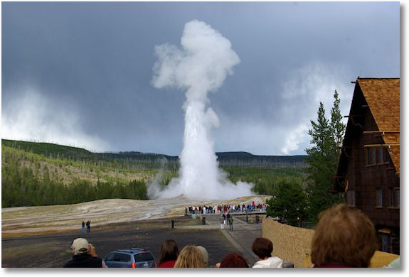 old faithful from porch at inn