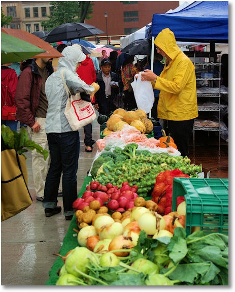 A rainy market day, Dane County Farmers' market on the Square, Madison, Wisconsin, 9-13-08