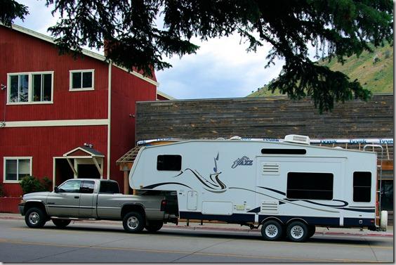 Jazz Fifth Wheel passing through Jackson, Wyoming.