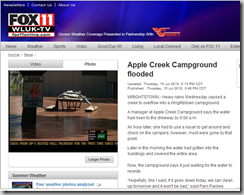 Apple Creek Campground Flooded