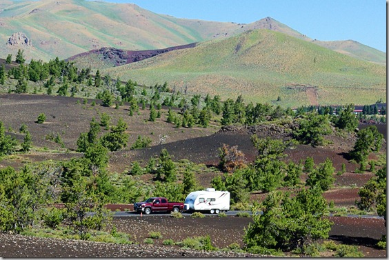 A Travel Trailer Traveling through Craters of the Moon