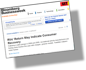 article in Bloomberg Business Week,  RVs' Return May Indicate Consumer Recovery