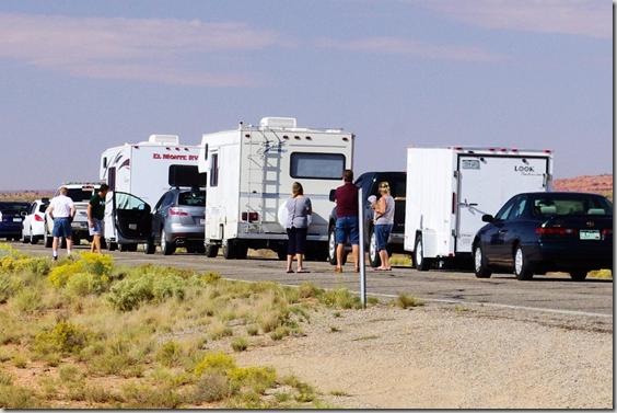 Accident stops traffic near Monument Valley, Utah, October 1, 2011