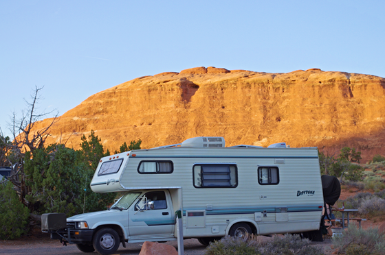 Daytona by Cobra, An early 1990s motorhome, Devils Garden Campground, September 2011, Arches National Park, Utah