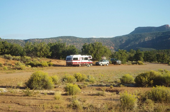 Drycamping in an old Class C in a BLM camping area used for Natural Bridges National Monument overflow camping