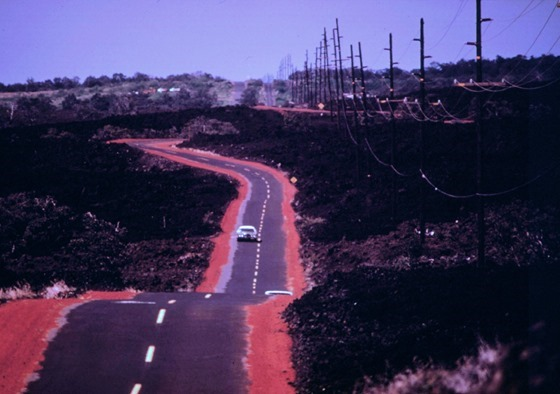 Highway 11 passing over 1868 lava flow near Waiohinu