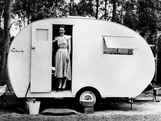 Mrs Dudley Courtman in her Chesney caravan, 1952