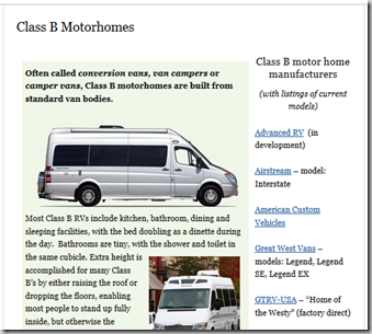 new page for Class B RVs