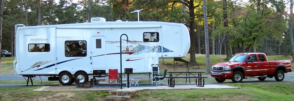 Fifth wheel camper at Petit Jean State Park in Arkansas