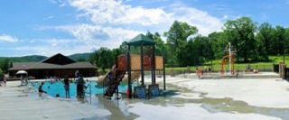 swimming pool and other water fun facilities at Fort Smith State Park, Arkansas