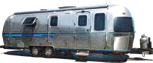 Digitized sketch from a photo of a 27 foot 1987 Airstream Sovereign built at the Jackson Center Ohio Airstream factory.