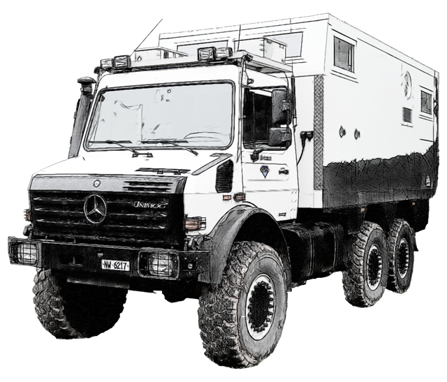 "Digitalized sketch from photo of 437 Unimog shot at Abenteuer & Allrad 2013 – off road exhibition ground Bad Kissingen, Germany – ""Europe's largest cross-country-fair"""