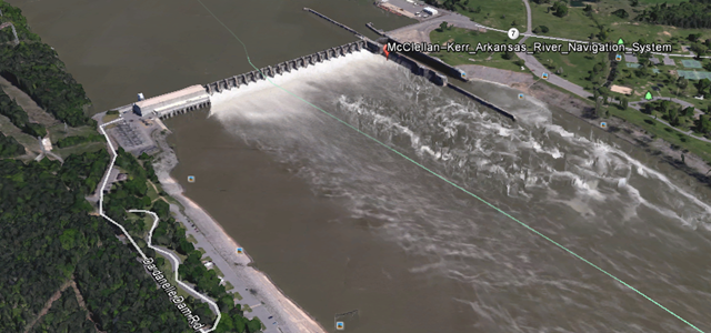Dardaneell Lock and Dam from Google Earth